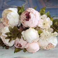 Künstliche Blumen Silk Blume Europäische Herbst Lebendige Pfingstrose Gefälschte Blatt Für Hochzeit Hause Dekoration Flores Artificiales Gefälschte Blumen