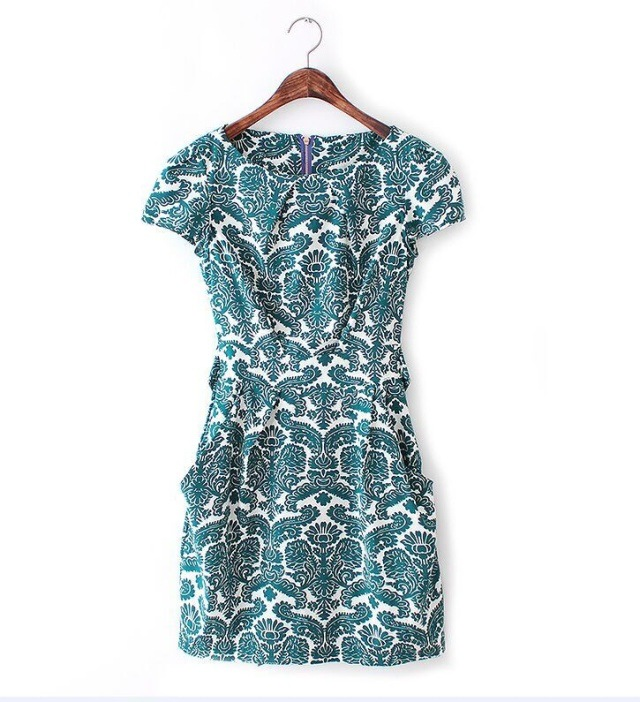 LFF-40 (5) and the wind fashion floral pattern blue tee Belted Dress