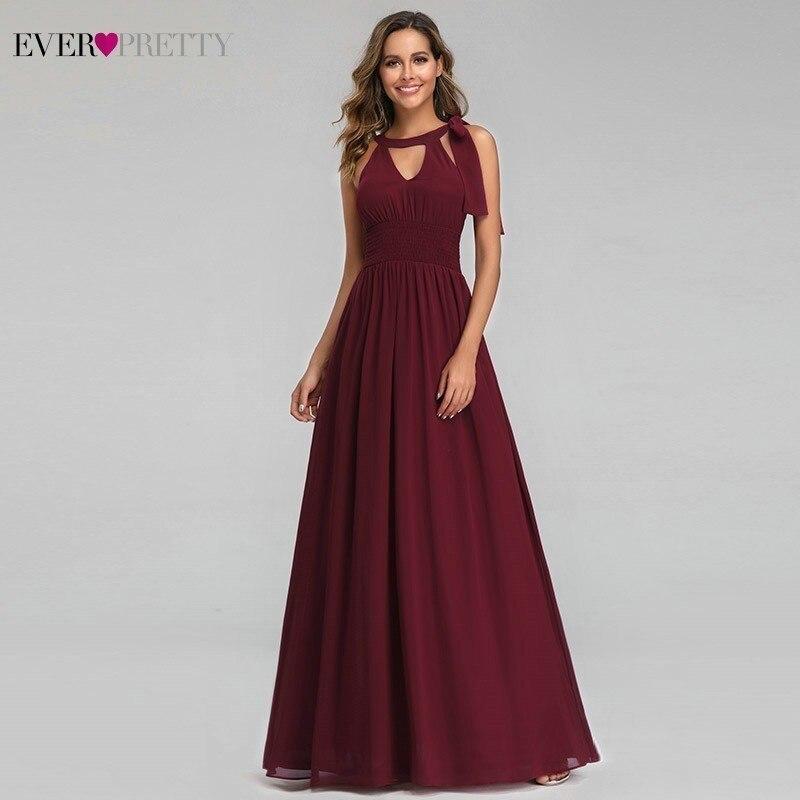 Ever Pretty Elegant Evening Dresses Long A-Line Halter Sleeveless Burgundy Formal Dresses For Party Abiye Gece Elbisesi 2019