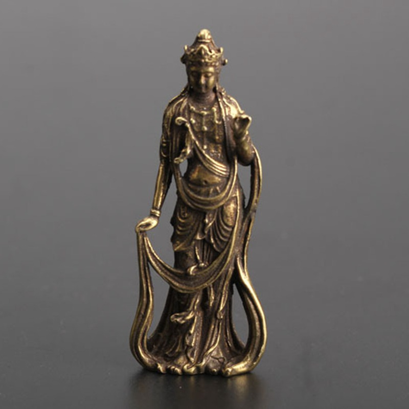 1pcs Chinese Brass Guanyin Bodhisattva Bronze Retro Pocket Statue Collection Handwork Statue Home Decoration Craft BBB0910