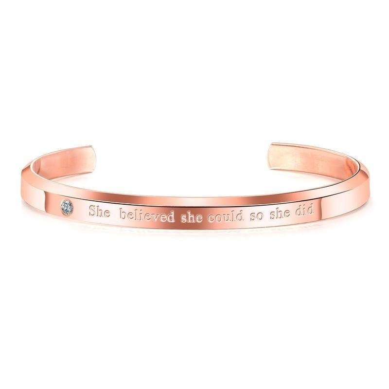 Купить женский браслет манжета с фианитами розовое золото