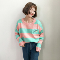Preppy Style Striped Cute Loose Winter Women Harajuku Kawaii Sweaters and Pullovers Autumn Ladies Knitwear Outwear 2SWT248