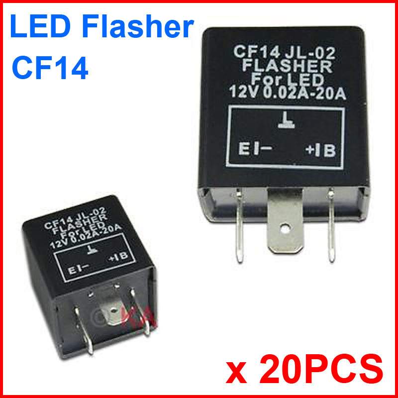 20PCS CF14 JL-02 LED Flasher 3 Pin Electronic Relay Module Fix LED SMD Turn Signal Light Error Flashing Blinker 12V 0.02A TO 20A