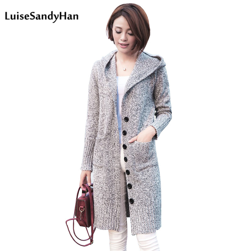 2019 Spring Female Cardigan Long Sleeve Female Hooded Sweater Knit Female Cotton Soft Elastic Solid Colore