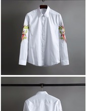 Classic male embroidery men long sleeve men's shirts and high-end business no-iron shirt 3#