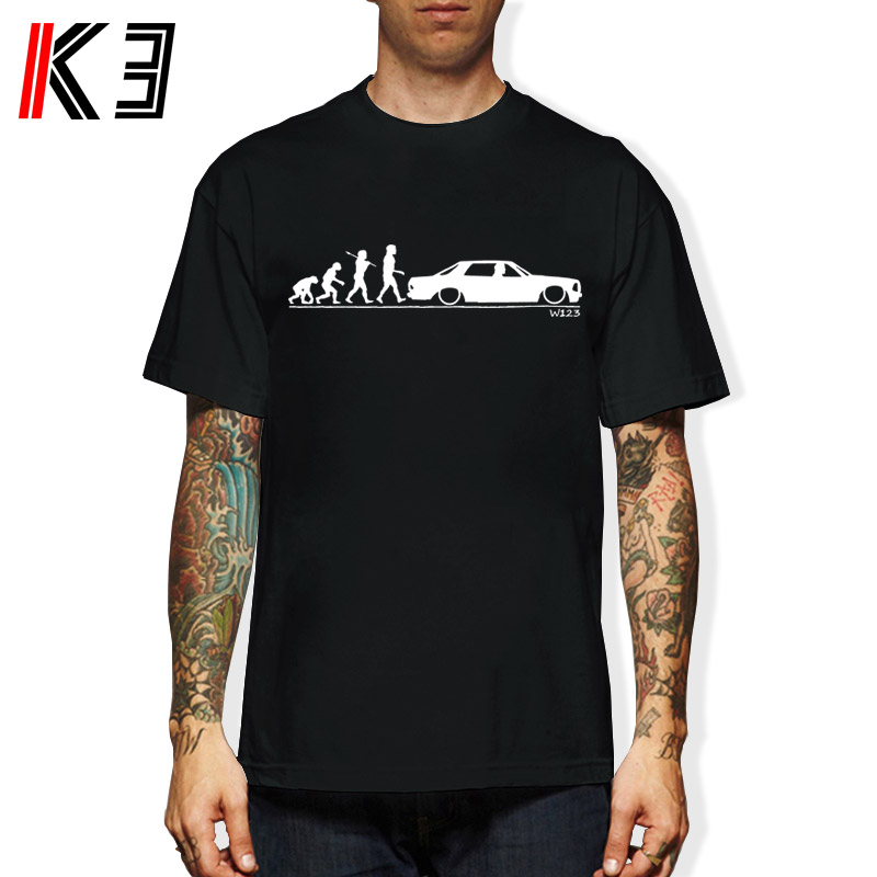 K3 W123 Mercedes Coupe Evolution Car Auto T-shirt Summer Short Sleeves Cotton Fashion Printed T Shirt Men Cotton T-Shirt