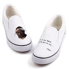 Personality Rock Star Tupac Printed Canvas Shoes Men Flat Loafers Custom Graffiti Hip Hop 2Pac Slip-On Walking Shoes Zapatillas(China)
