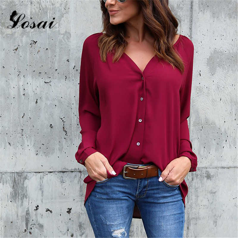 Плюс размер Sexy Женская Сексуальная v-образным вырезом кнопка вниз шифоновая блузка рубашка женская рубашка Элегантная Офисная Леди Блузки Топы Blusa Feminina