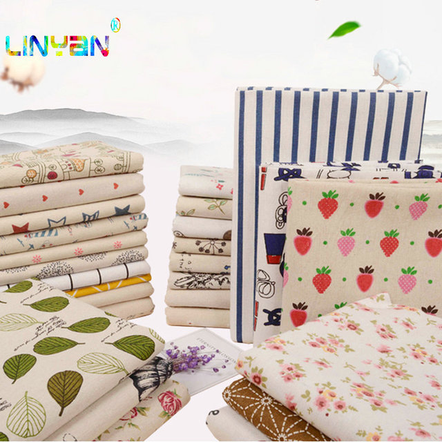 Cotton Linen Cloth Diablement Fort Lining Shell Printed Fabric Grid Material Sofa Tablecloth Hang Cloth Casement