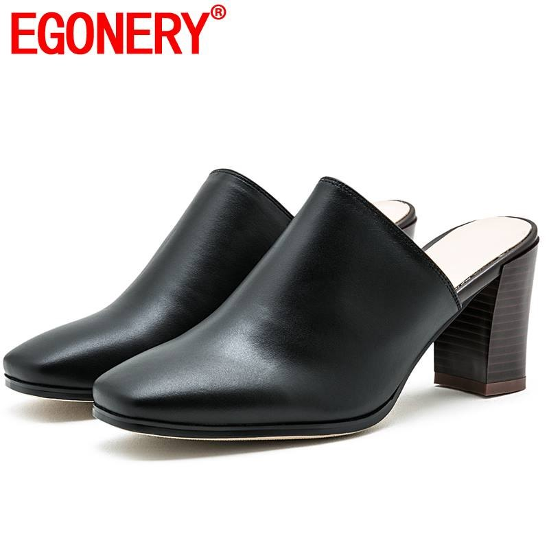 EGONERY fashion women slippers summer genuine leather office work square toe 2019 summer sandals 7 5cm