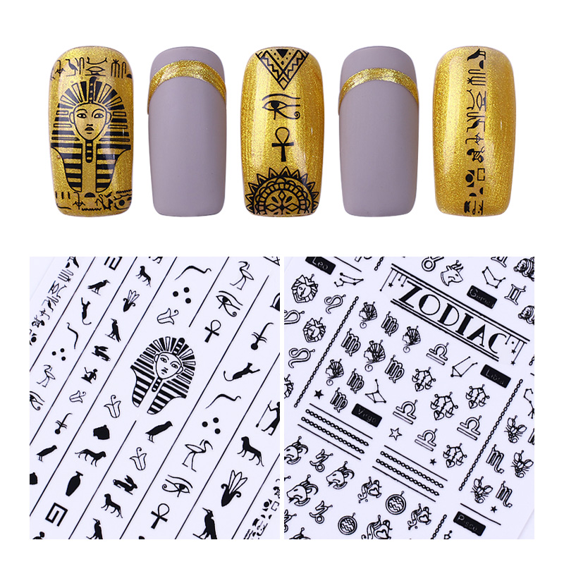 3D Nail Sticker Black White Egypt Pharaoh Paisley Constellation Adhesive Transfer Sticker Nail Art UV Gel Nail Polish Decoration golden black nail art crown hollow flakes 3d decoration sticker wheel alloy uv gel polish tips diy charm jewelry accessories