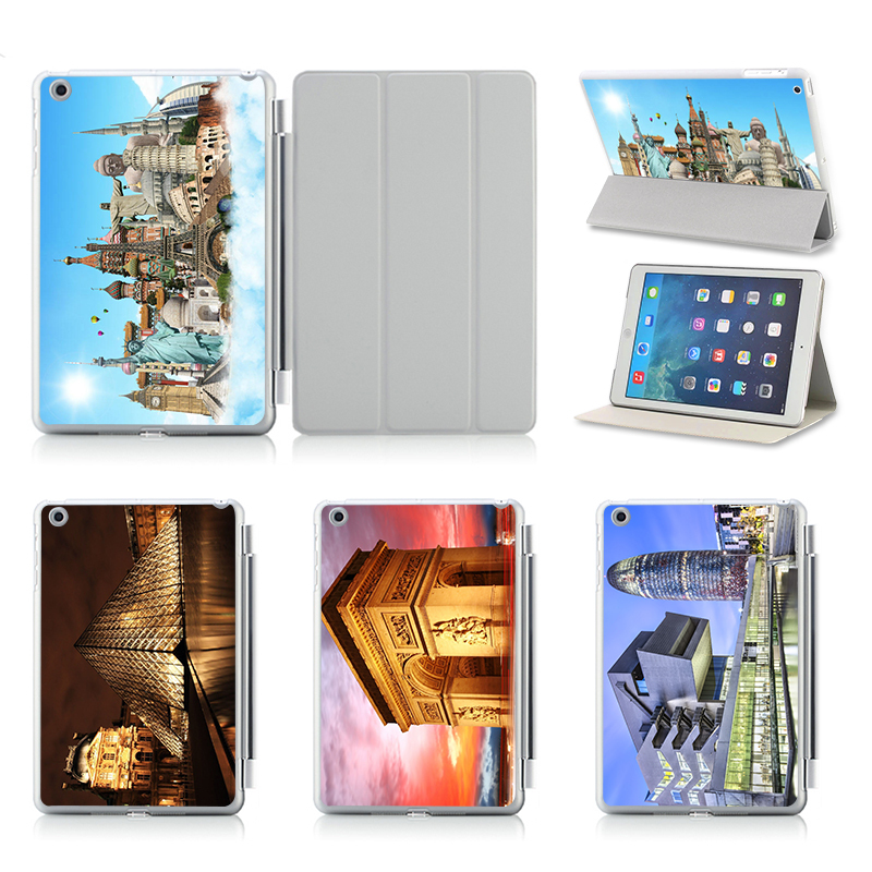 Flip Hard Plastic Case Tablet Protector Cover For Apple iPad 5 ipad Air Stand Case Printed Support Customized Pattern Printed