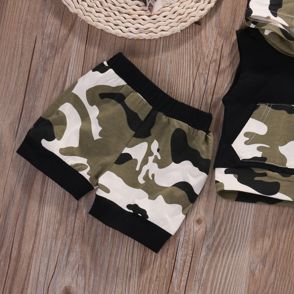 Newborn Infant Baby Boy Girl Clothes Set Hooded Vest Top + Short Pants Outfits Set 2pcs Suit Camouflage Baby Boy Clothes Newborn