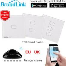Broadlink TC2 de LA UE REINO UNIDO Estándar 1 2 3 Gang Remoto WiFi Pantalla Táctil Interruptor de Control de Pared de Luz 110 V-240 V RM2 RM Pro Inteligente casa
