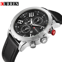 Men Watches Luxury Brand CURREN Quartz Genuine Leather Strap Minimalist Ultrathin Wrist Watches Waterproof High Quality