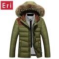 Hombres Chaqueta de invierno 2017 Nueva Casual 90% Pato Abajo Abrigos de Lana de Cuello de Algodón Acolchado Parkas Marca de Moda del Sombrero Desmontable 3XL X337