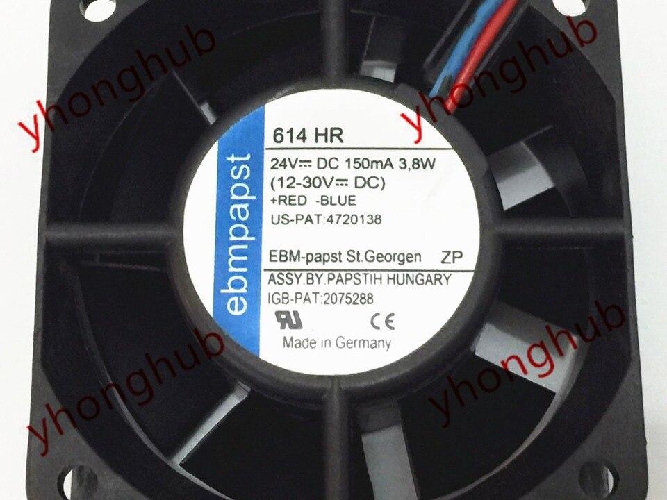 Fiberglass Reinforced PBT Frame//PA,Nylon Blade EBM-PAPST 5214NN DC Fans SQ 127 x 38 mm 24VDC 127CFM 46dBA 6W 3150RPM BB 2 Wire Leads