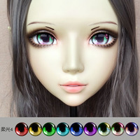 (DM063) Girl Sweet Resin Japanese Anime Kigurumi Mask Cosplay Lolita Crossdressing Lifelike BJD Masks Eye's Color for Choose