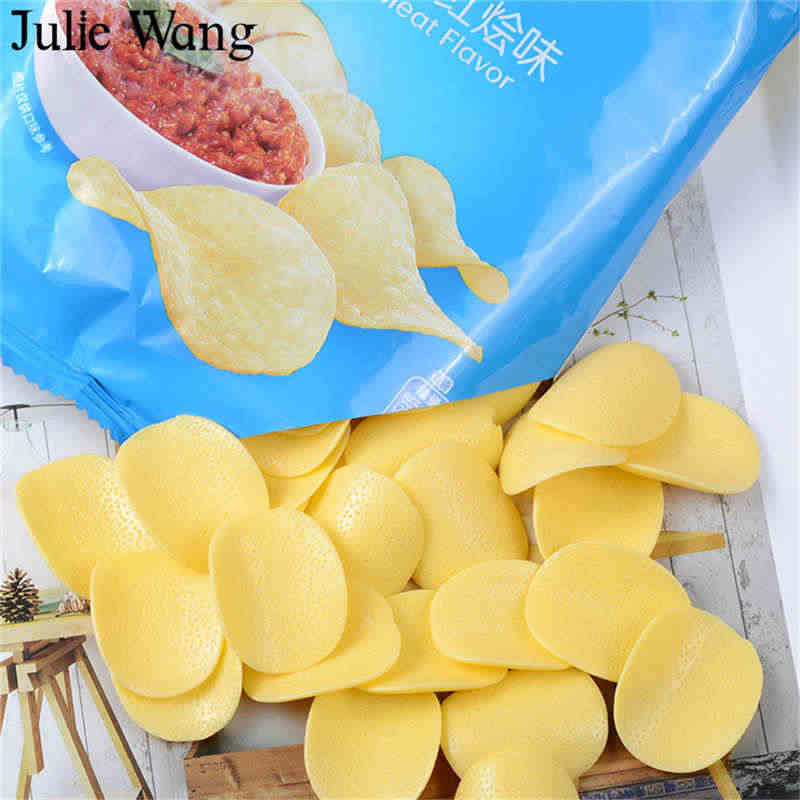 Julie Wang 10PCS Resin Artificial Food Potato Chips Charms Slime Pendants Jewelry Making Accessory Home Table Decor Props