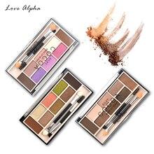 ФОТО love alpha 6 colors eyeshadow pallete+2 colors eyebrow powder makeup set matte shimmer glitter cosmetics smoky eye shadow makeup