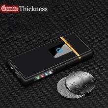 2018 neue USB Leichter Aufladbare Elektronische Feuerzeug LED Licht Batterie Display Winderproof Flammenlose Doppel Seite Zigarre Plasma