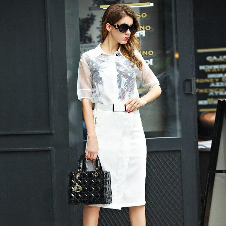 Ladies Elegant Office Work Formal Skirt Pencil Suits Floral Blouse ...