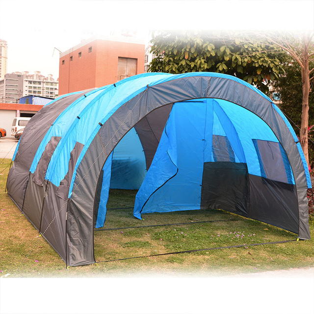 Portable Double Layer Big Tunnel Tent 5 10 Person Outdoor Camping Family Tent House for Party Emergency Case 480*310*210cm 10Kg