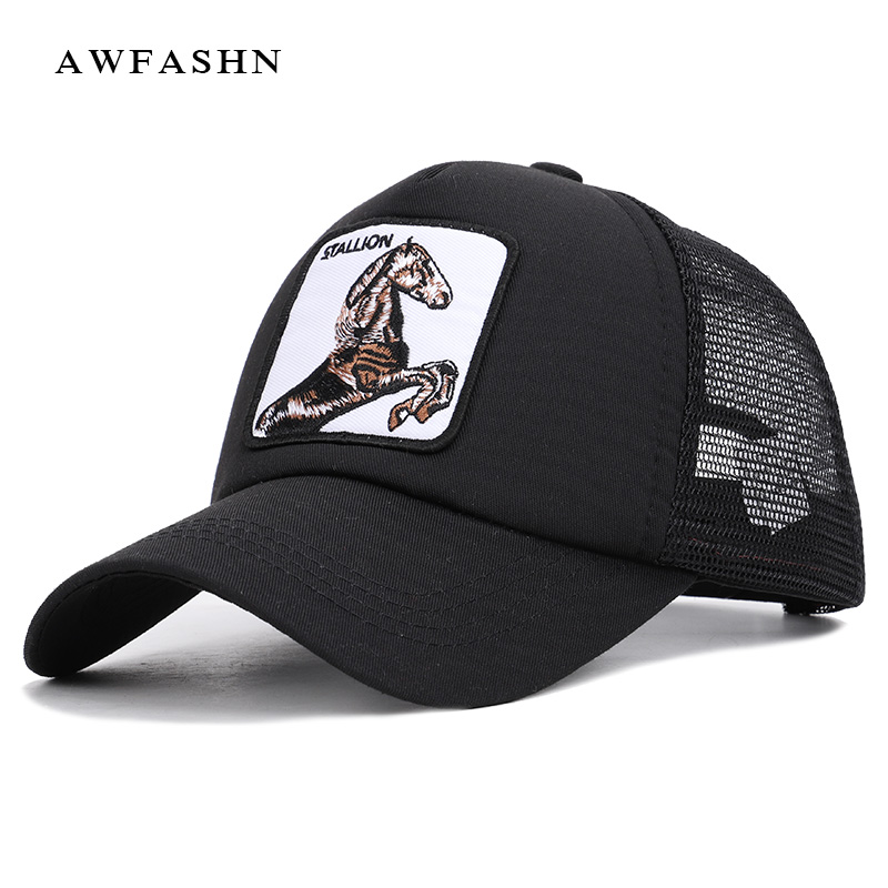 2019 Hot Sale Fashion High Quality Animal Embroidery Mesh   Baseball     Cap   Unisex Snapback Adjustable Horse Summer Hat Gorras Bone