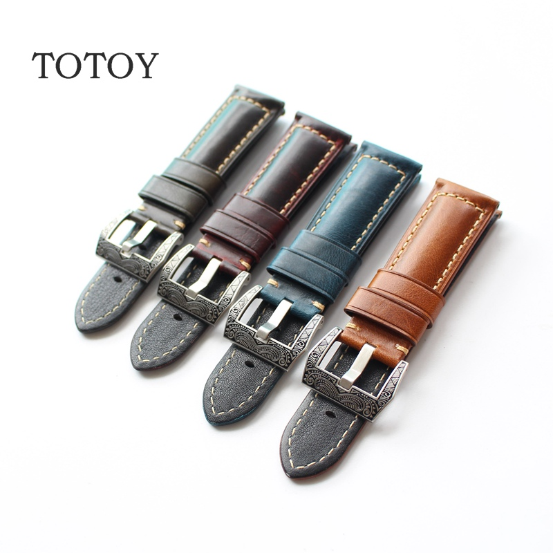 TOTOY Handmade Italian Leather Strap, 22MM 24MM 26MM Retro Calfskin For PAM Watchbands, Fast Delivery fast talk italian