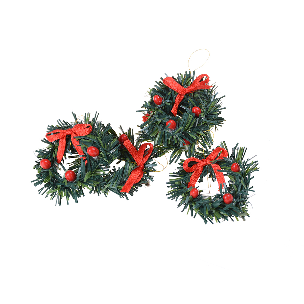 1:12 DollHouse Christmas Garland Decoration With Red Bow DIY Home Decor Gift*US*