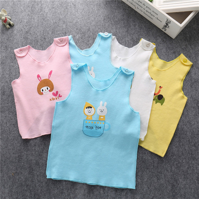 Summer Newborn Infant Baby Cotton Vest  Cotton Cute Sleeveless Cartoon Sling Shoulder Button Easy To Take Off Loose For New Baby
