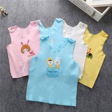 summer Newborn infant baby cotton vest cotton cute sleeveless Cartoon Sling Shoulder button Easy to take off Loose for new baby(China)