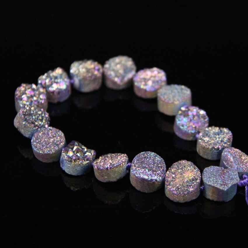 Large Size Red Titanium Natural Roug Quartz Geode Drusy Freeform Nugget Pendant Jewelry Making Supplies,Raw Crystal Druzy Beads,Full strand