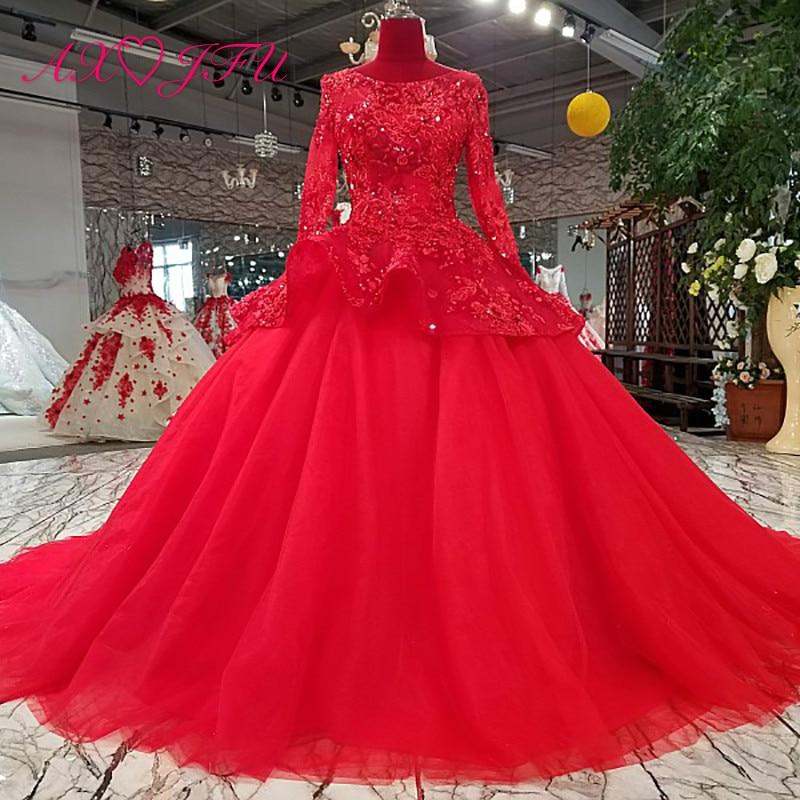 Vintage Wedding Dresses Red: AXJFU Princess Red Flower Lace O Neck Long Sleeve Wedding