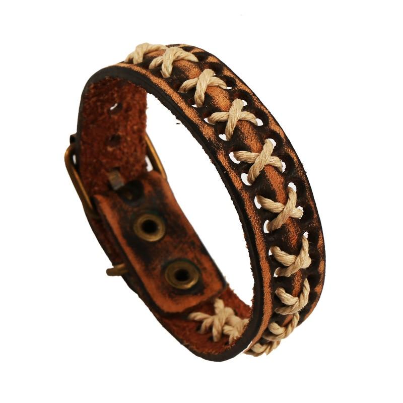 Fashion Ethnic Style Handmade Vintage Braided Cow Leather Bracelets & Bangle Women Men Bracelets Jewelry Belt Buckle Brown