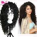 Natural Cheap Hair Wigs Lace Front Curly Wigs Synthetic Lace Front Wigs With Baby Hair Heat Resistant Long Black Wig For Woman