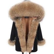 2019 Long Parka Real Fur Coat Natural Raccoon Fur Collar Winter Jacket Women 3