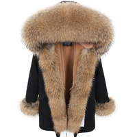 2019 Long Parka Real Fur Coat Natural Raccoon Fur Collar Winter Jacket Women 3 In 1 Thick Warm Brand Luxury Parkas Outerwear