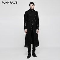 Punk Rave Rock Black Fashion Gothic Military Uniform Worsted Winter Retro Men's Long Coat Jacket Y766M
