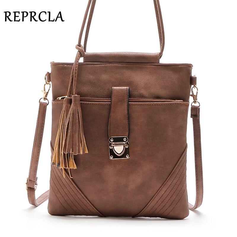 Reprcla высокое качество Винтаж Для женщин сумка кисточкой Сумки через плечо для Для женщин Курьерские сумки дизайнер леди Сумки