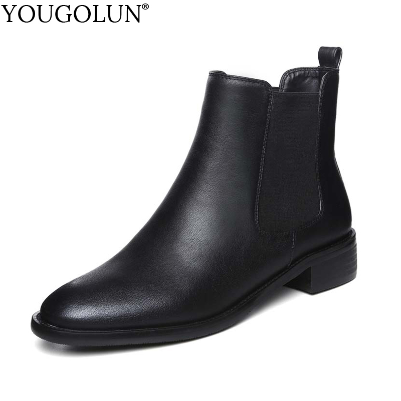 YOUGOLUN Women Ankle Boots Genuine Cow Soft Leather 2017 Autumn Winter Black Square Heel 3 cm Low Heels Round toe Shoes #Y-240 yougolun women ankle boots 2018 autumn winter genuine leather thick heel 7 5 cm high heels black yellow round toe shoes y 233