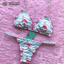 QI DIAN Bikini Set Sexy Summer Bathing Suits Push UpWomen Swimsuit 2017 Bikini Brazilian Biquinis Flamingo Printed Swimwear BK1