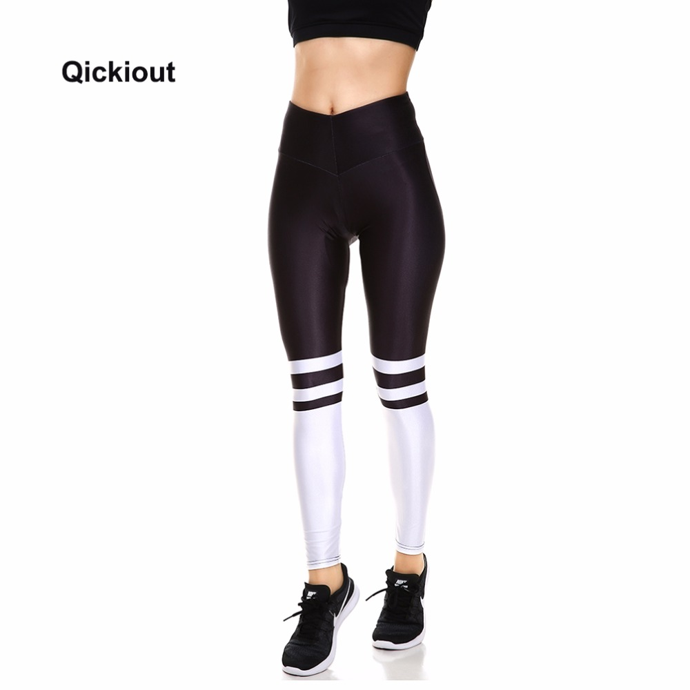 Qickitout Leggings 2017 New Arrival Halloween Christmas Gift White And Black Stitching Women's Casual Spring Autumn Pants