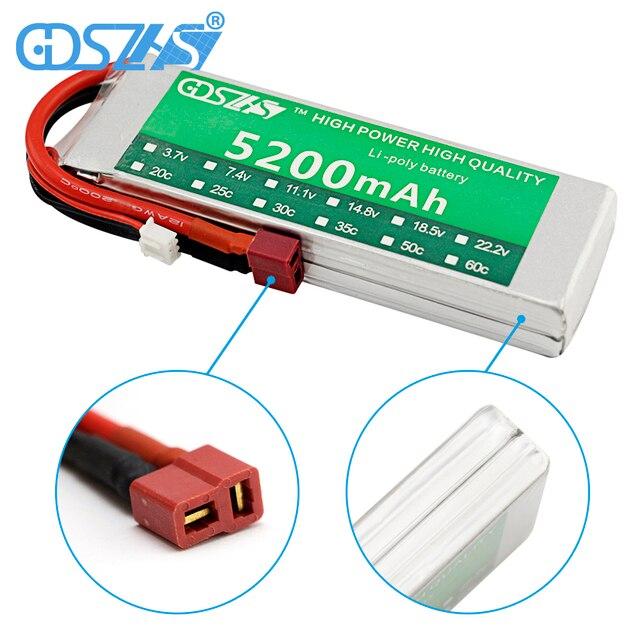 GDSZHS Power 7.4V 5200mAh Lipo Battery 30C 2S Battery 2S LiPo 7.4 V 5200 mAh 30C 2S 1P Lithium-Polymer Batterie For RC car