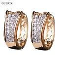 GULICX Моды Небольшой Кристалл Серьги для Женщин Gold Platinum Покрытием Хооп Серьги На Английском Замке Цирконий Свадебные Украшения E103