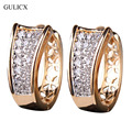 GULICX Fashion Small Crystal Earrings for Women  Gold Platinum Plated Hoop Earings Huggie Cubic Zirconia Wedding Jewelry E103
