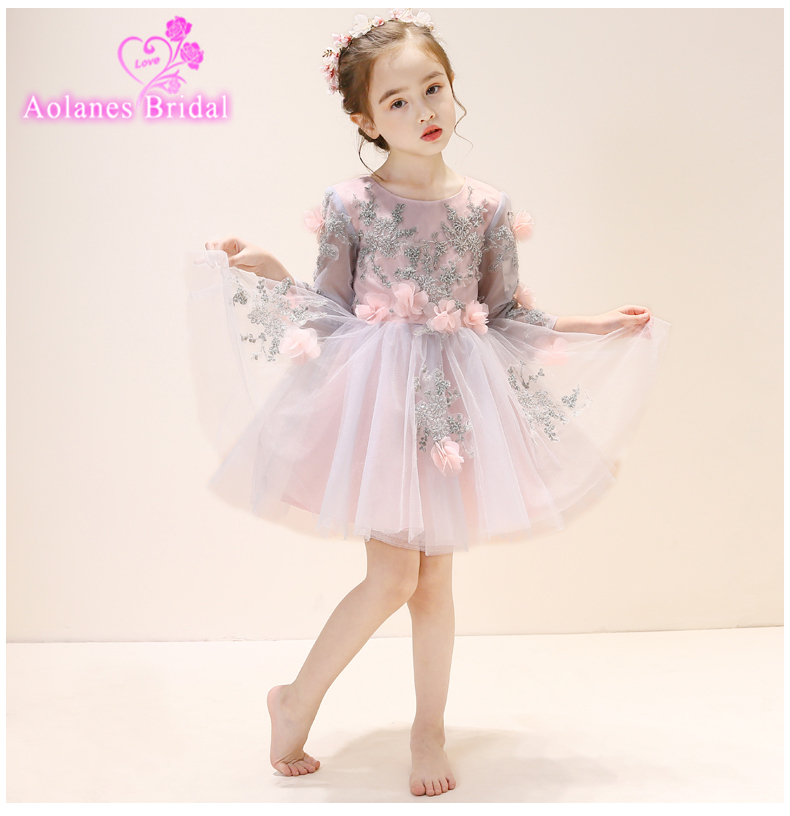 Custom Made Gray Long Sleeves   Flower     Girl     Dresses   2018 Cheap Kids Short Lace Appliques First Communion   Dresses   For   Girls