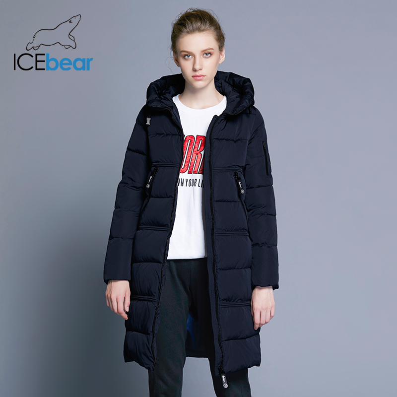 ICEbear 2018 Women Quilted Parkas Women Bilateral Pocket Thick Hooded Windproof Warm Knitted Windproof Cuffs 17G666D