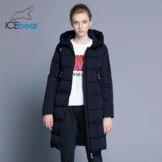 ICEbear 2018 Для женщин стеганые парки Для женщин двусторонние карман толщиной с капюшоном ветрозащитный Теплый вязаный ветрозащитный рукава 17G666D