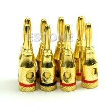 Новые 8 шт. 4 мм коннектор позолоченный музыкальный Динамик кабель Провода винт банан Коннектор